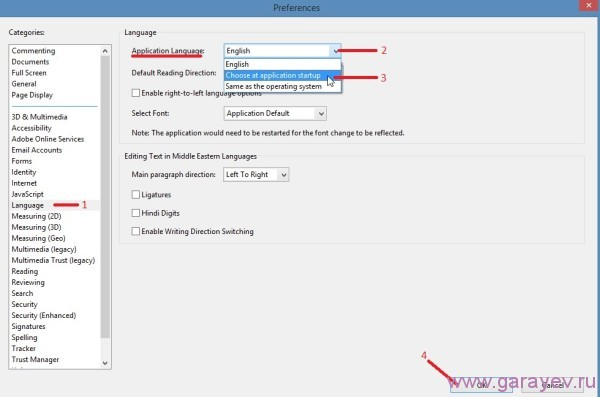 how to change the language setting on adobe reader x