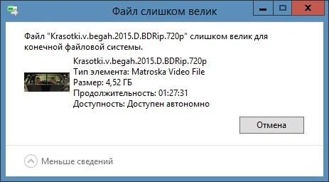 Нужно сменить файловую систему флешки