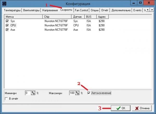 Управление вентиляторами компьютера Windows 7