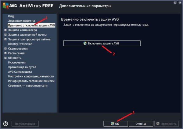 AVG Antivirus как отключить и включить
